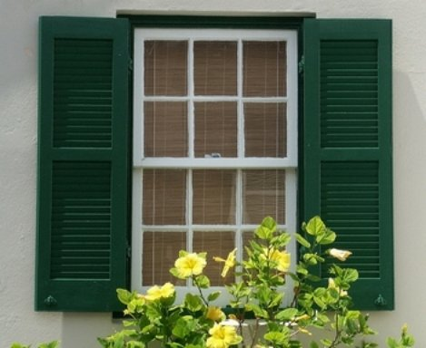 A house with exterior window shutters in green colour