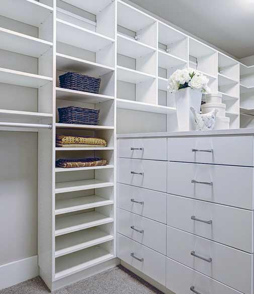 A neat and organized custom designed closet.