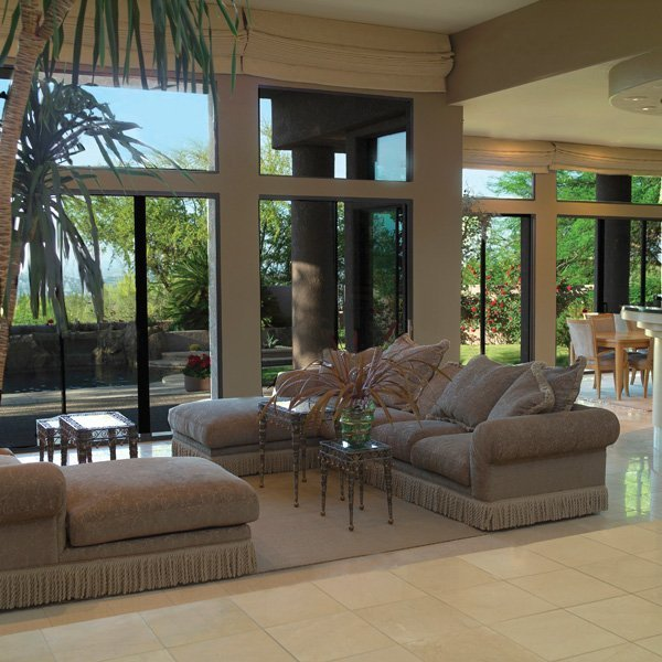 Solar protective film installed in a beautiful living room.