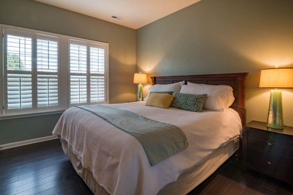 Vertical blinds allow light filtration in a room