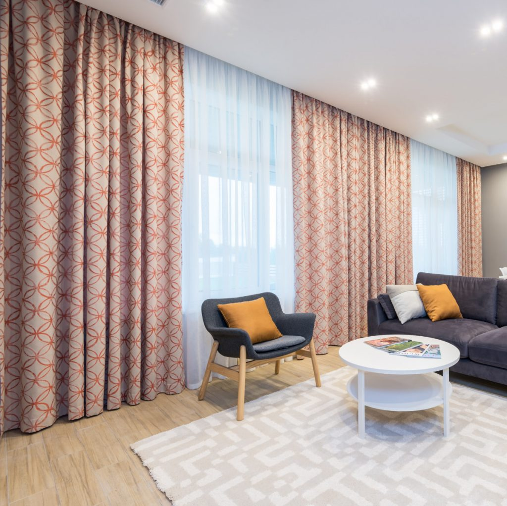 Red Patterned Curtains and Sheers